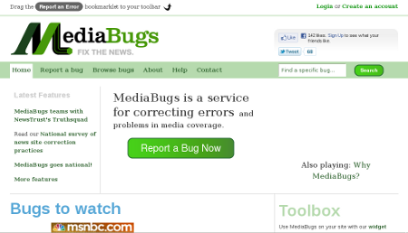 Screenshot of mediabugs.org