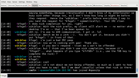 Screenshot of an IRC session.