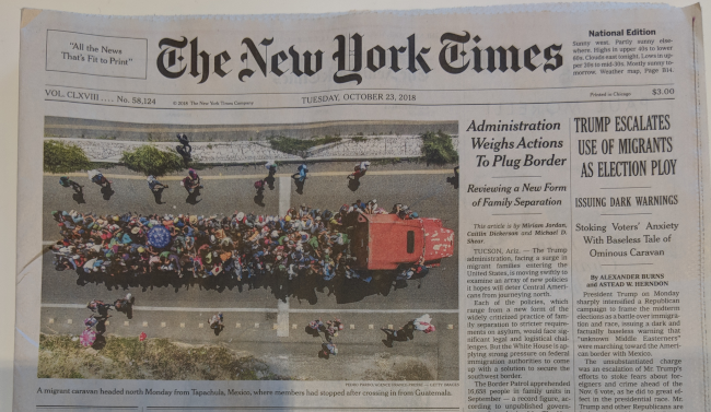 Top of New York Times front page for 2018/10/03.
